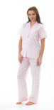 Ladies Short Sleeved Floral Seersucker Pyjamas in Pink 10 - 20